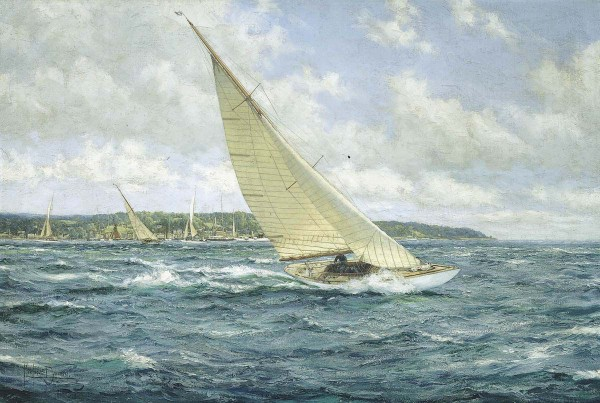 Montague Dawson - Reef down - 6 metre yachts off the Isle of Wight