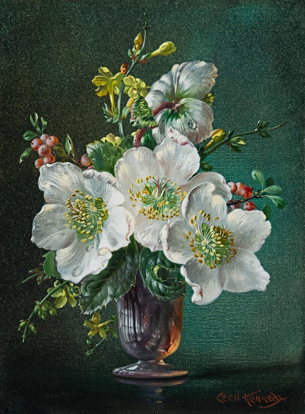 Cecil Kennedy - Winter - Christmas roses in a glass vase
