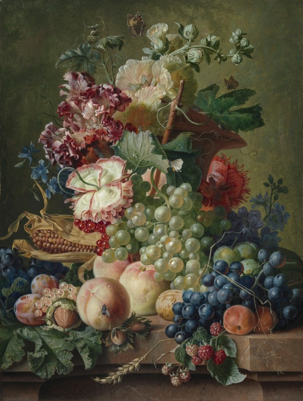 Still life of flowers and fruit on a stone ledge