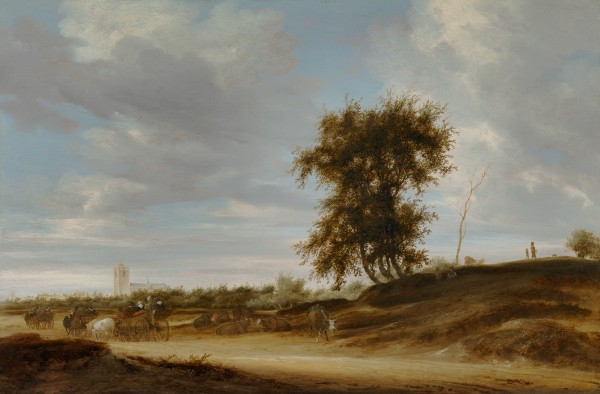 Landscape with wagons on a sandy road