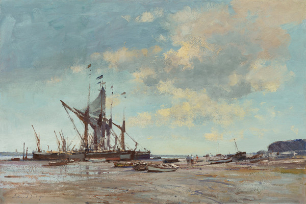 Edward Seago - Spritsail barges at low water, Pin Mill