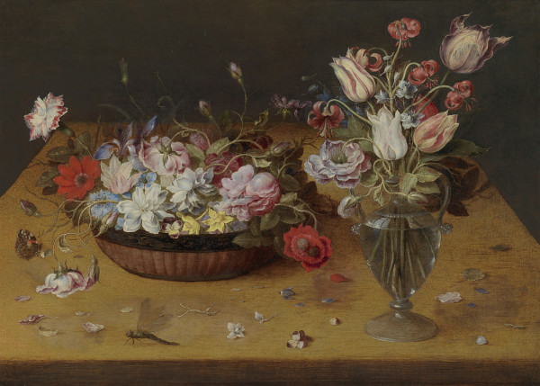 Flowers in a lacquer basket and in a glass vase