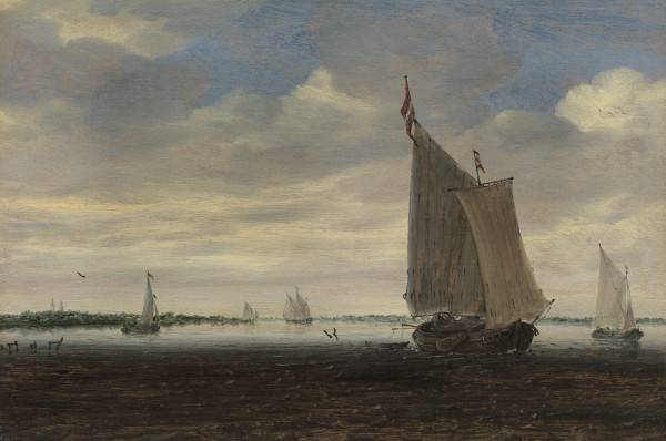 A wijdschip and other small Dutch vessels on an estuary, with a church in the distance