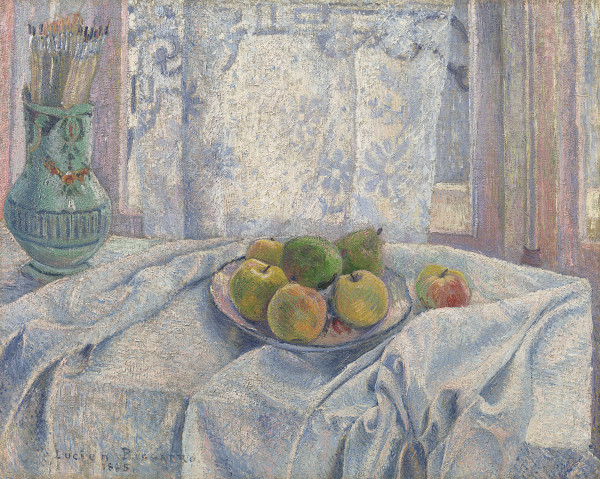 Lucien Pissarro - Apples on a tablecloth against a lace-curtained window