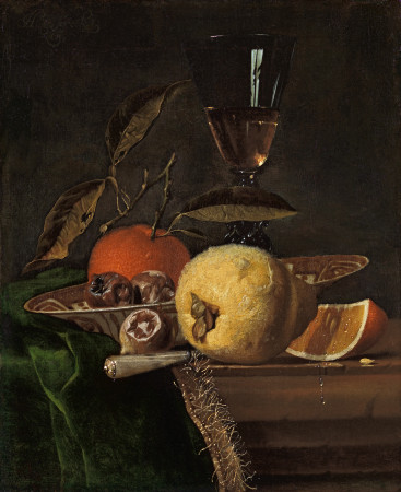 Still life with a quince, an orange and medlars in a Chinese porcelain bowl, with a façon-de-Venise glass of wine and a knife on a table top draped with a green cloth