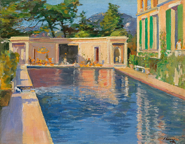 Sir John Lavery - A blue swimming pool at Cannes