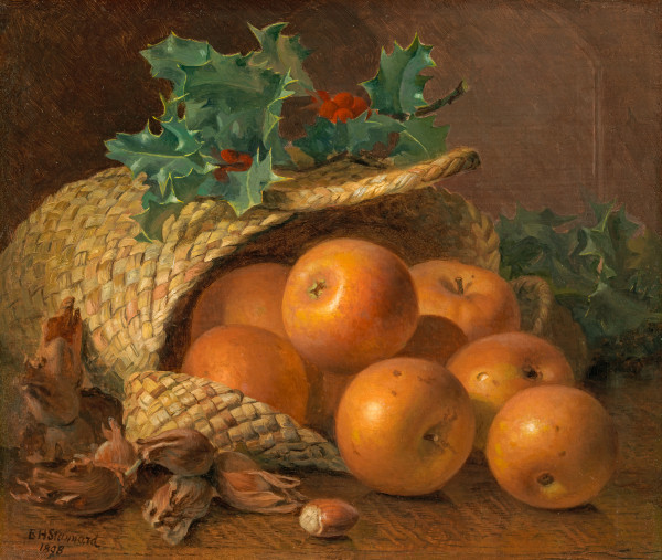 Still life of apples, hazelnuts and holly