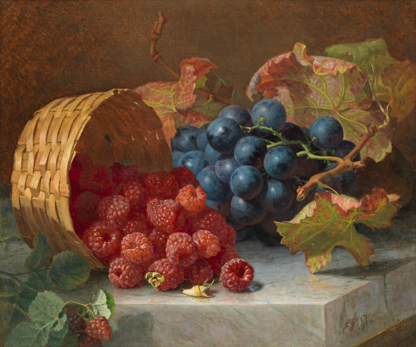 Still life with grapes and raspberries