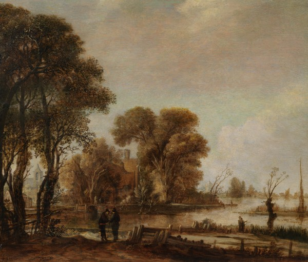 A river landscape with figures and a cottage among trees on the bank of a stream