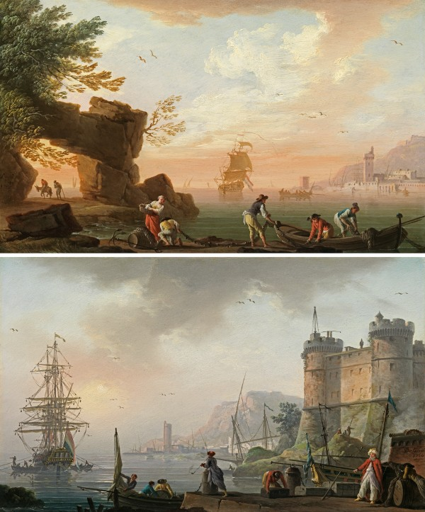 Sunrise: Levantine merchants on a quay below a castle, a Dutch man-of-war at anchor beyondSunset: fishermen preparing their nets, a port and a Dutch man-of-war beyond