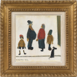 LS Lowry - Figures with a dog