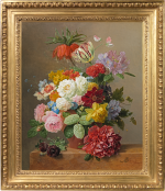 Arnoldus Bloemers - Still life with roses, peonies, tulips and other flowers in a vase on a marble ledge
