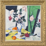 Samuel John Peploe - Still life of pink & red roses in a Chinese vase
