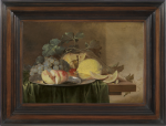 Jan Davidsz de Heem - Still life on a wooden table partly covered with a dark green cloth with a peach, grapes, cherries and lemon