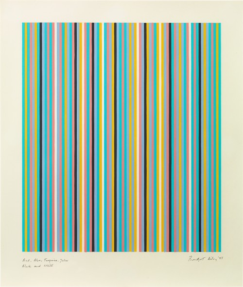 Bridget Riley - Red, blue, turquoise, yellow, black and white, 1981