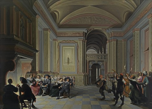 Dirck van Delen - A palatial interior with ladies and gentlemen feasting, entertained by Carnival mummers