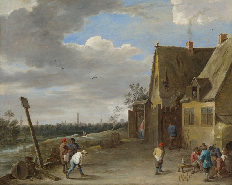 David Teniers the Younger - Peasants playing nine-pins outside an inn, the city of Antwerp in the distance