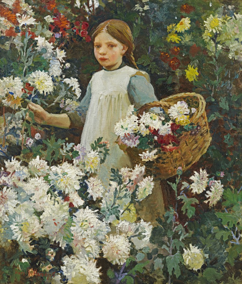 Harold Harvey - Picking chrysanthemums