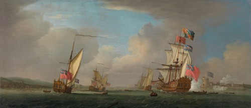 Peter Monamy - King George I's first arrival in the Peregrine Galley in September 1714, with Tilbury Fort saluting