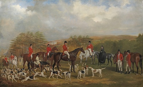 William Barraud - Sir Edmund Antrobus and the Old Surrey Fox Hounds at the foot of the Addington Hills