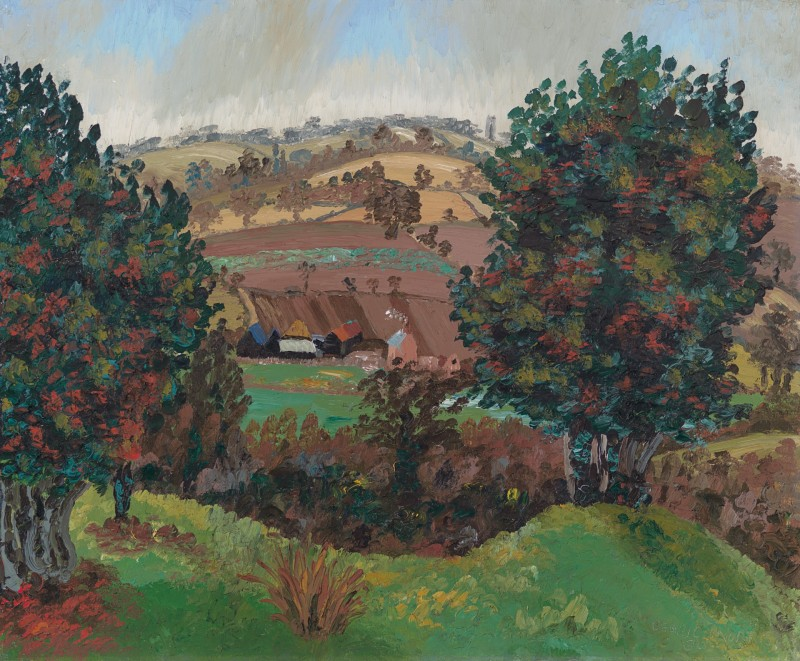 Sir Cedric Lockwood Morris - A Suffolk landscape with Steps Farm and Stoke-by-Nayland church