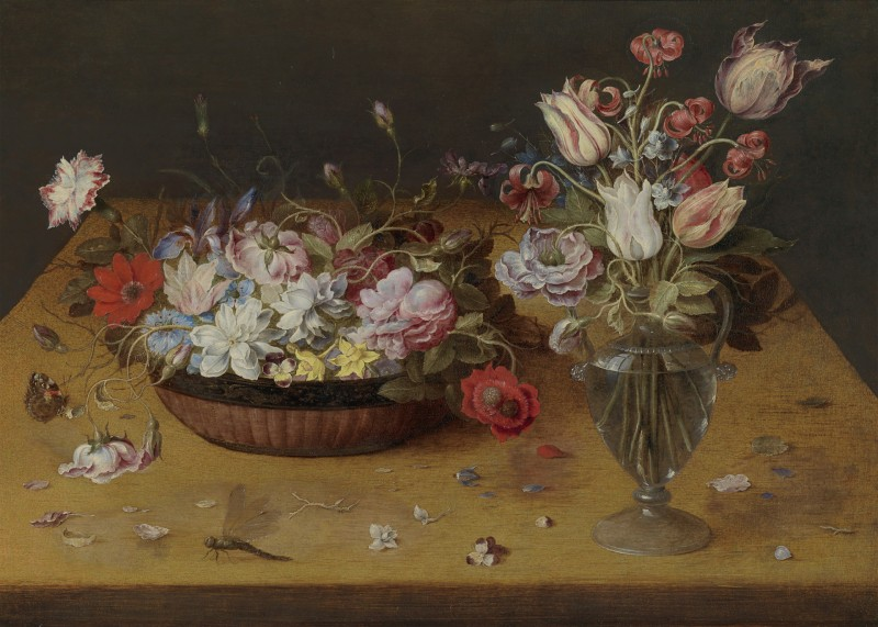Osias Beert The Elder - Flowers in a lacquer basket and in a glass vase