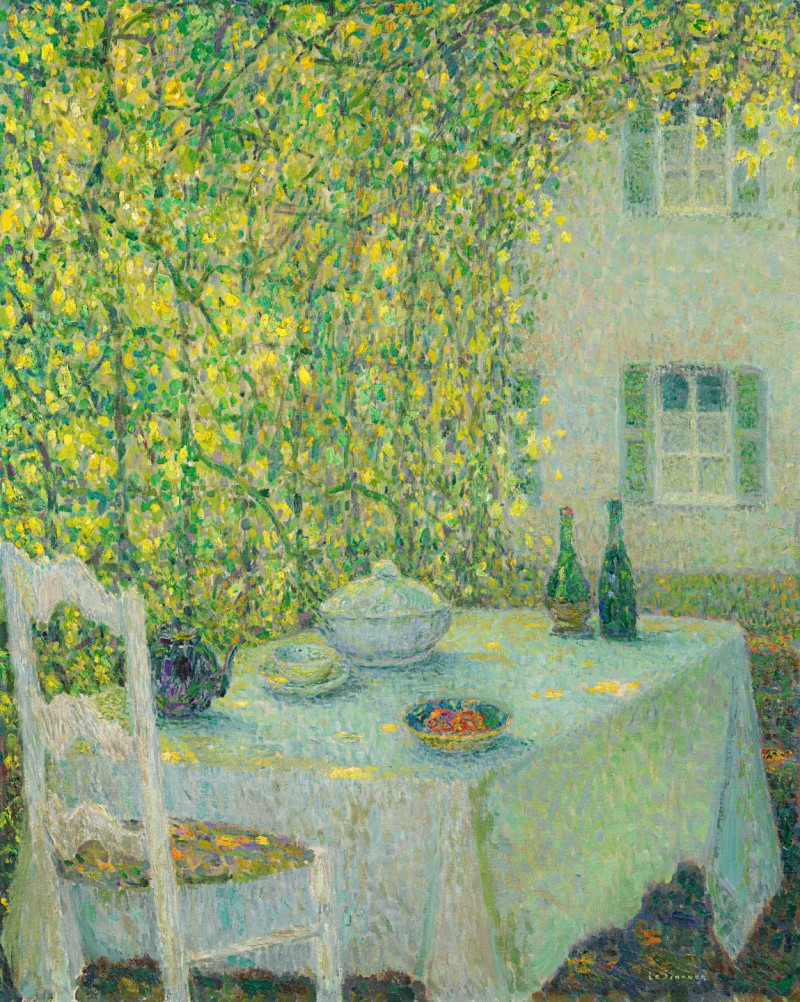 Henri Le Sidaner - La table villageoise, Gerberoy (La table sous la tonnelle)
