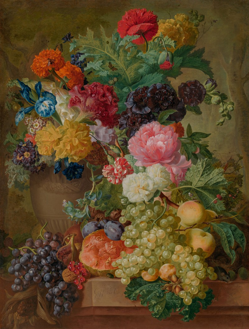 """Georgius Jacobus Johannes van Os - Still life of a peony, poppies, an iris, a carnation, hollyhocks and other flowers in a vase, with fruit on a marble ledge in a vase, with fruit on a marble ledge"""