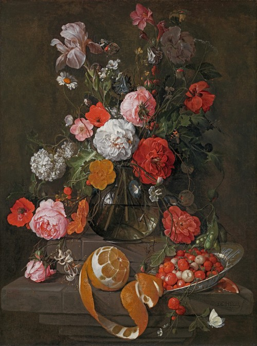 Cornelis de Heem - Still life of roses, poppies, an iris and other flowers in a glass vase on a stone shelf, with a peeled orange and strawberries in Wanli dish
