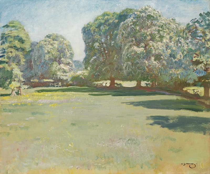 Sir Alfred Munnings - Chestnuts in bloom at Castle House, Dedham