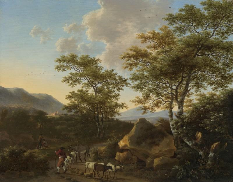 Willem de Heusch - Italianate landscape with shepherds
