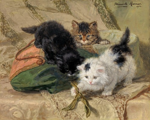 Henriette Ronner-Knip - Three playful kittens