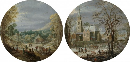 Joos de Momper The Younger - A winter landscape with travellers passing through a village by a church; A landscape with travellers and villagers going to market               A pair