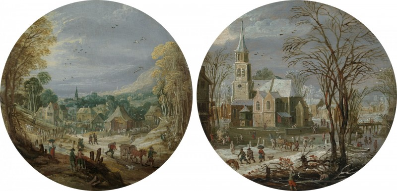 Joos de Momper The Younger - A winter landscape with travellers passing through a village by a church; A landscape with travellers and villagers going to market