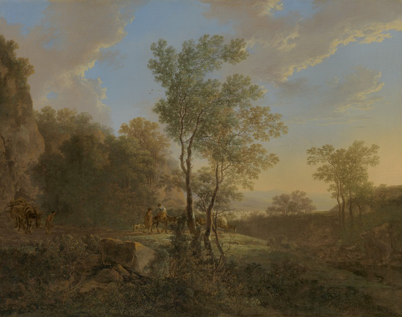 Jan Both - An Italianate wooded landscape with travellers