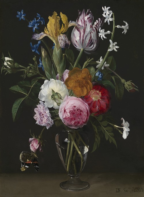 Daniel Seghers - Still life of roses, irises, hyacinths, jasmine and a carnation in a glass vase, with a Red Admiral butterfly (Vanessa atalanta)