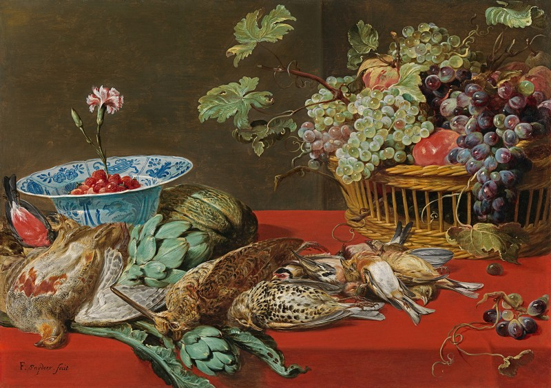 Frans Snyders - Still life with small game birds and a fruit basket