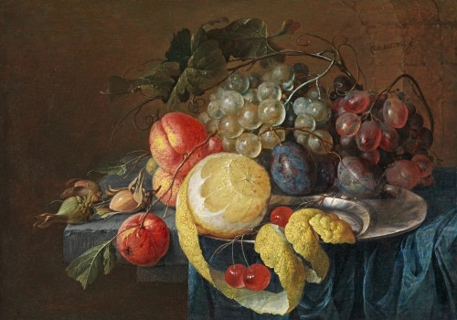 Cornelis de Heem - Still life of fruit on a hardstone slab, partly covered with a blue cloth