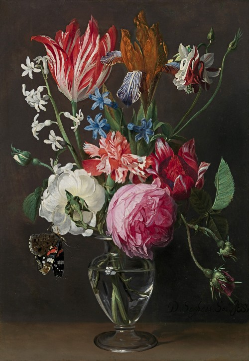 Daniel Seghers - Still life of roses, an iris, hyacinths, columbine and a carnation in a glass vase, with a Red Admiral butterfly (Vanessa atalanta)