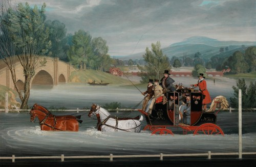 James Pollard - Mail coach in a flood near Shillingford Bridge, Berkshire
