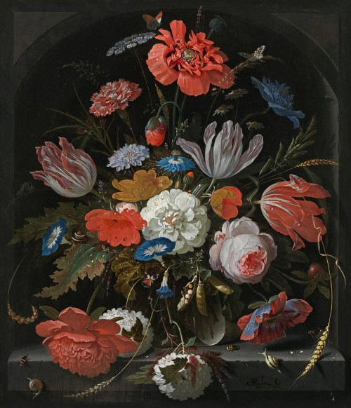 Abraham Mignon - Still life of roses, tulips, poppies,morning glory, love-in-a-mist,scabious and other flowers in a glassvase in a stone niche, with insects andsnails