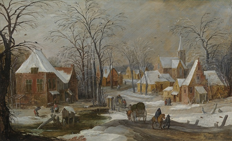 Joos de Momper The Younger - A winter landscape with travellers passing through a village